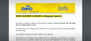info-sirio-n-110-summer-closure