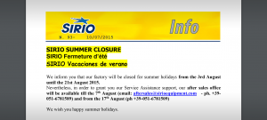info-sirio-n-93-summer-closure